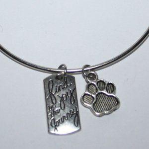 Find joy in the Journey paw print bangle bracelet